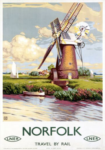 "Norfolk, Windmill. LNER Vintage Travel Poster by ""B"" (John Bee). c1947"